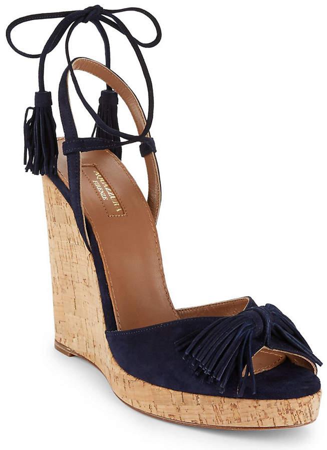 Aquazzura Wild One Leather Wedge Sandal