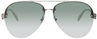 Alexander McQueen Silver Skull Jeweled Pilot Sunglasses