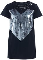 Twin-Set T-shirt Twinset In Black Cotton With Silver Diamond Heart