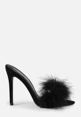 Missguided Black Feather Stiletto Heeled Mules