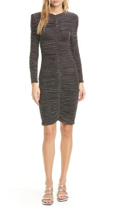Stine Goya Blake Metallic Stripe Ruched Long Sleeve Dress