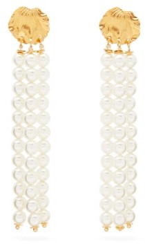 Elise Tsikis - Madera Faux Pearl Tassel Gold-plated Earrings - Womens - Pearl
