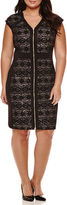 Ronni Nicole RN Studio by Cap-Sleeve Zipper Front Glitter Lace Sheath Dress - Plus