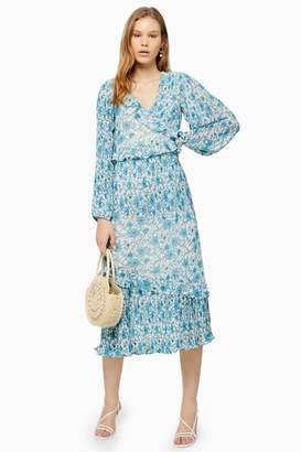 Topshop Womens Floral Pleated Maxi Dress - Multi
