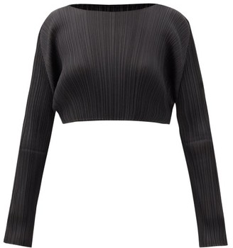 Pleats Please Issey Miyake Technical-pleated Cropped Top - Black