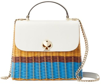 Kate Spade Medium Rory Wicker & Leather Top Handle Bag