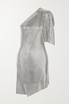 Fannie Schiavoni Rosie One-shoulder Open-back Chainmail Mini Dress - Silver