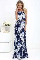 LuLu*s Love for Lanai Navy Blue Floral Print Two-Piece Maxi Dress