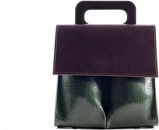 "Kartu Studio Natural Leather Handbag ""Fennel"" Brown/Reptile Print Deep Green"