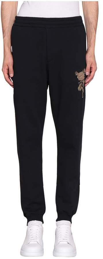 Alexander McQueen Embroidered Cotton Sweatpants