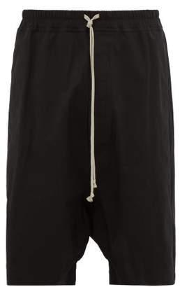 Rick Owens Pod Stretch Cotton Twill Shorts - Mens - Black