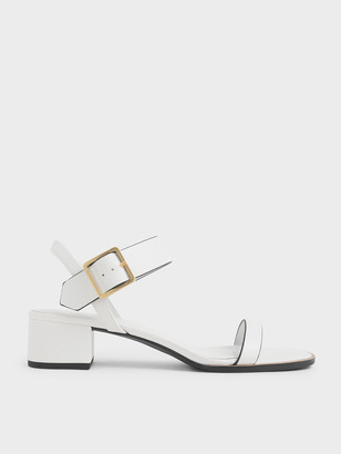 Charles & Keith Frame Buckle Block Heel Sandals