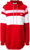 MSGM stripe panelled hoodie dress with gemstone embellished drawstring