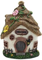 """Exhart 11"""" Solar Straw Roof Cottage Outdoor Decor"""