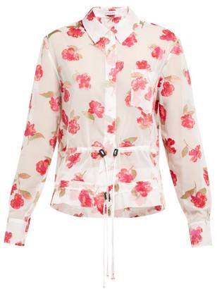 Altuzarra Lia Floral-devore Crepe Drawstring Shirt - Womens - White Multi
