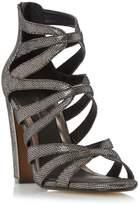 Head Over Heels by Dune MICHA - PEWTER Caged Block Heel Sandal