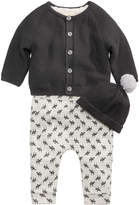 First Impressions 3-Pc. Hat, Cardigan & Moose-Print Pants Set, Baby Boys, Created for Macy's