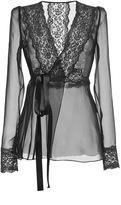 Dolce & Gabbana Silk Blend Chiffon Lace Wrap Blouse