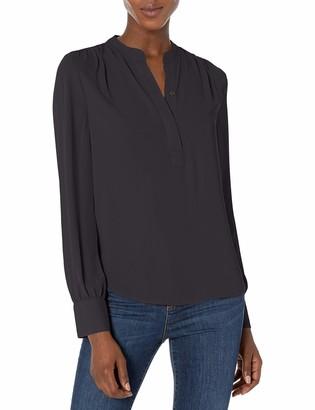Lark & Ro Amazon Brand Women's Long Sleeve Band Collar Gathered Detail Blouse