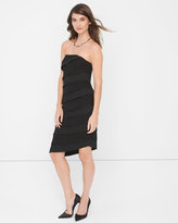 White House Black Market Strapless Black Lace Tiered Sheath Dress