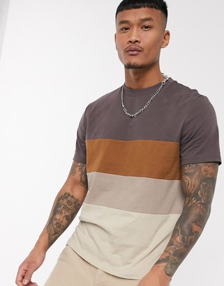 BEIGE ASOS DESIGN organic t-shirt with body color block in