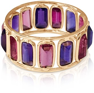 Tresor Collection Amethyst & Pink Tourmaline Baguettes Stacking Ring In 18K Yellow Gold