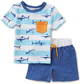 Starting Out Baby Boys 12-24 Months Shark Printed Short-Sleeve Tee & Shorts Set