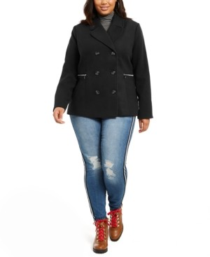 Maralyn & Me Juniors' Plus Size Double-Breasted Peacoat