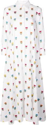 Carolina Herrera floral embroidered shirt dress