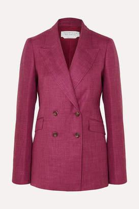 Gabriela Hearst Angela Double-breasted Wool, Silk And Linen-blend Blazer - Burgundy