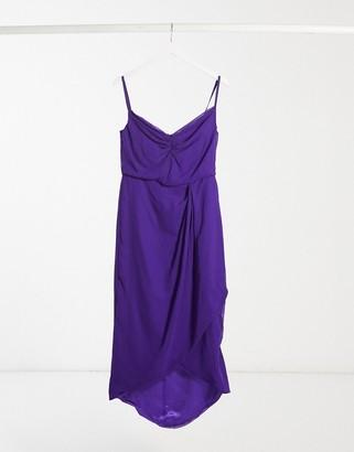 Virgos Lounge wrap midi dress in purple