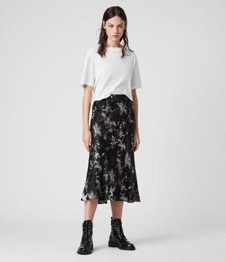 AllSaints Elly Silk Blend Evolution Skirt