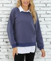 Z Avenue Women's Sweatshirts and Hoodies Crown - Crown Blue Layered Sweatshirt - Women & Plus