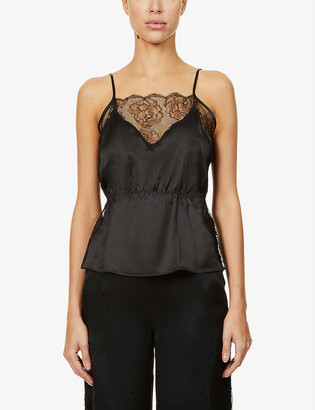 Fleur Du Mal Rose lace-trim silk-satin pyjama top