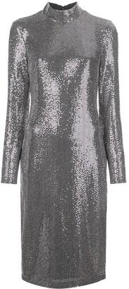 Badgley Mischka metallic midi dress