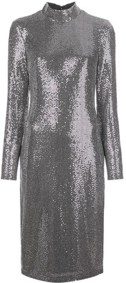 Badgley Mischka Metallic Midi Dress