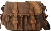 Fashion Story Men Military Multifunction Canvas Top Layer Leather Messenger Shoulder Bag