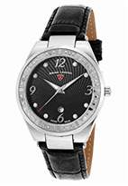 Swiss Legend Women's 'Passionata' Quartz Stainless Steel and Leather Watch, Color:Black (Model: 10220SM-01)