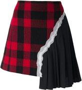 Maison Margiela plaid pleated asymmetric skirt - women - Cotton/Polyamide/Viscose/Wool - 42