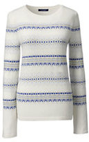 Lands' End Women's Petite Cashmere Fair Isle Stripe Sweater-Bavarian Creme Fairisle Stripe