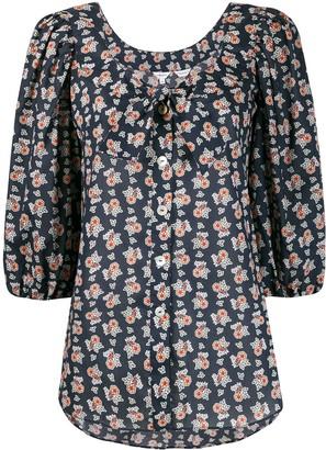 Liberty London Floral-Print 3/4 Sleeves Blouse