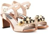Dolce & Gabbana Embellished Embossed Leather Sandals