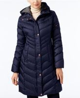 Andrew Marc Chevron Hooded Down Coat