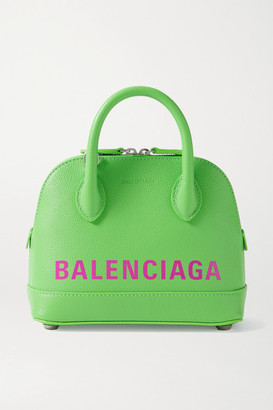 Balenciaga Ville Xxs Printed Textured-leather Tote - Green