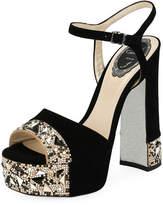 Rene Caovilla Embellished Suede Platform Sandal