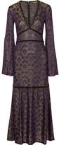 Roberto Cavalli Lace-trimmed Metallic Crochet-knit Maxi Dress - Purple