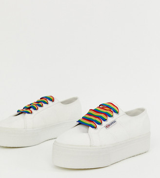 Superga 2790 exclusive white chunky sneakers with rainbow laces