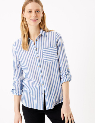 Marks and Spencer Pure Cotton Striped Relaxed Shirt