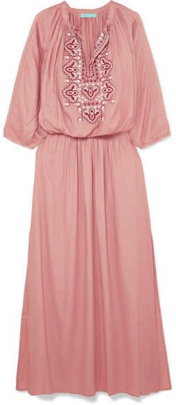 Melissa Odabash Sienna Embroidered Voile Maxi Dress - Antique rose