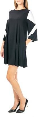 Nina Leonard Bell Sleeve Colorblock Dress